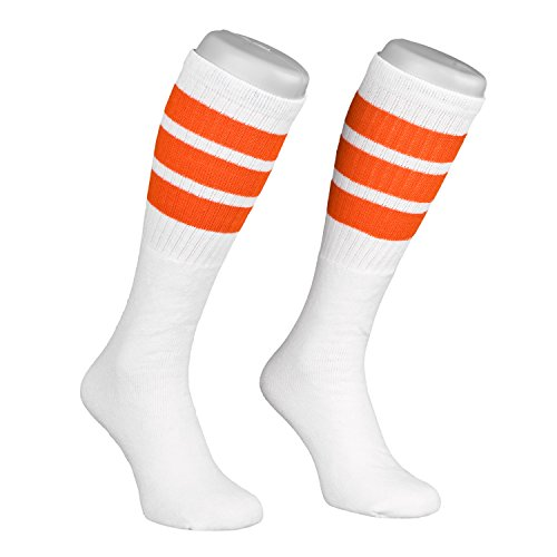 Skatersocks Tube Socks 22 Inch Skater Socken gestreifte retro Kniestrümpfe weiß orange Roller-Skating