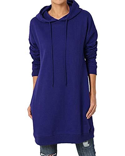 Kidsform Sweat-Shirt Robe à Capuche Femme Pull-Over à Manches Longues Casual Tops Robe Automne Hiver T-Shirt Hauts avec Poches Chic Z-Bleu 40 EU