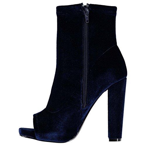 Steve Madden Damen Esspecial Boots Peep Toe Stiefeletten Absatz Stiefel Marineblau Samt