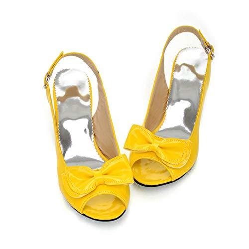 New Lovely Bowknot Fish Head High Heels Summer Women Sandals Women's Shoes Yellow 5