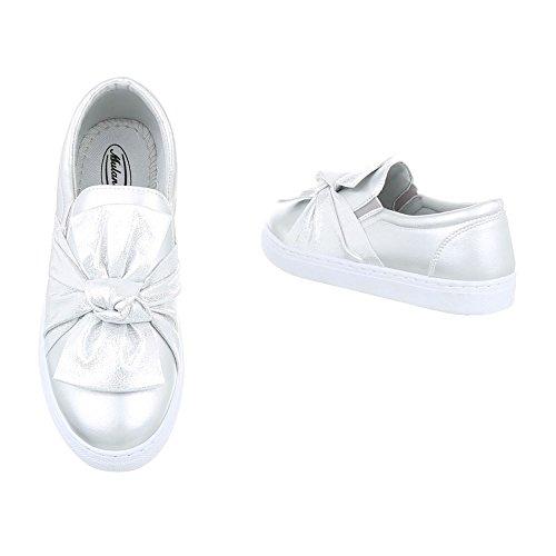 Sneakers Ital-design Basse Sneakers Da Donna Basse Scarpe Casual Moderne Argento R-3-1