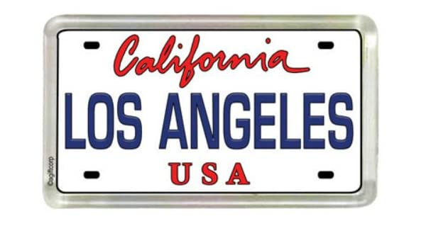 World By Shotglass Los Angeles California Acrylique Petit r/éfrig/érateur de plaque dimmatriculation Collectors souvenir Aimant 5,1/x 3,2/cm