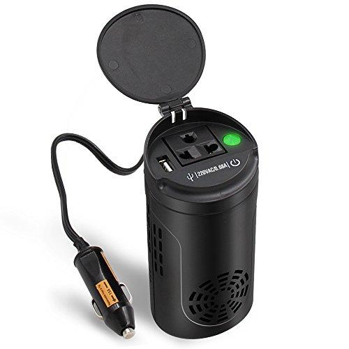 POTEK 150W Wechselrichter,12V auf 220-230V mit 1*1.25A USB Port, 1*Steckdose und 1*Zigarettenanzünder