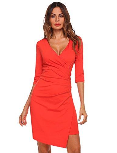 Meaneor Damen Wickeloptik Dreiviertelarm Kleid V-Ausschnitt Wickelkleid Asymmetrischer Saum Etuikleid Knielang Sommer Cocktailkleid Orange