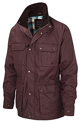 VEDONEIRE Mens Wax Jacket (3050) BURGUNDY maroon red (L (chest