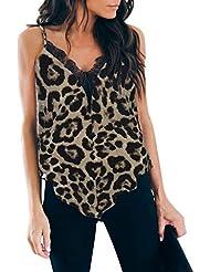 Chaleco de Mujer Camiseta Sin Mangas Espalda Abierta Estampado de Leopardo Borde de Encaje Top Casual Vestido Fiesta Slim-fit Sling Suelto y cómodo Primavera Verano Marlene1988