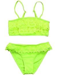 e0629406013f Xinantime Costume da Bagno Bambina Pizzo con Balze Due Pezzi Giarrettiere  Bikini Bambini Tinta Unita Moda