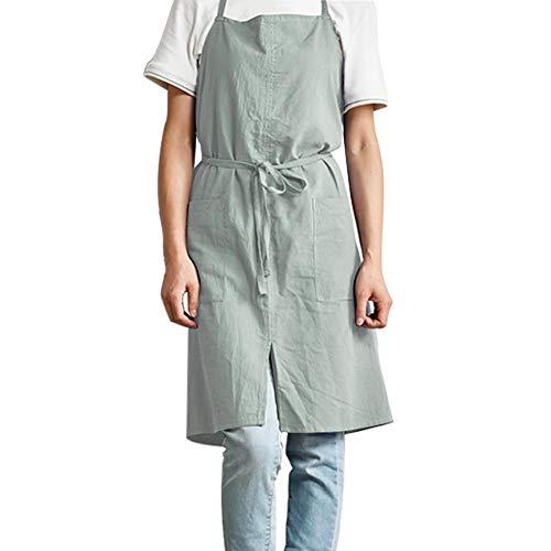 Baumwolle Leinen Schürze Weiche Einfarbig Schürzen Plain Nordic Erwachsene Schürze Japanischen Stil Einfache Haus Overalls Doppeltaschen Küche Kochen Kleidung Geschenk für Frauen Männer (Kochen, Kleidung)