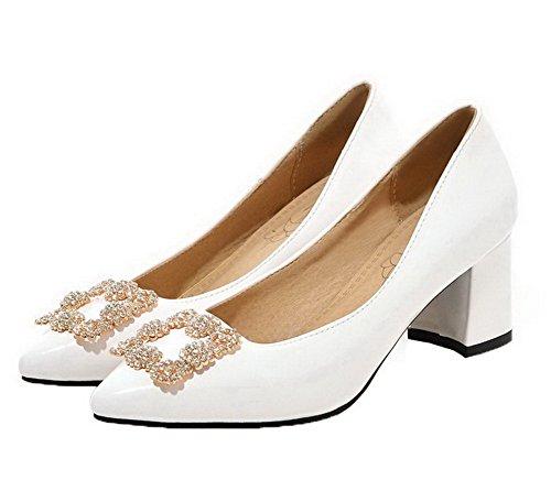 AgooLar Femme Mosaïque Verni Fermeture DOrteil Tire Chaussures Légeres Blanc