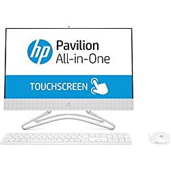 "HP 22-c0216ns - All in One Táctil - Ordenador de sobremesa 21.5"" FullHD (Celeron J4005, 4GB RAM, 1TB HDD, Intel Graphics, FreeDos), Color Blanco, con Teclado QWERTY Español y Ratón"