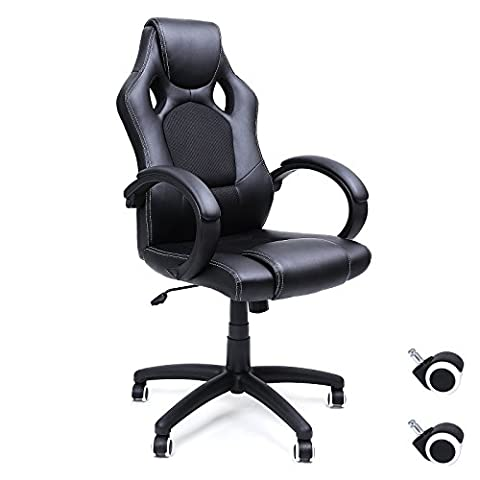 Songmics Fauteuil de bureau Chaise pour ordinateur PU simili cuir 2 roulettes supplémentaires fournies noir