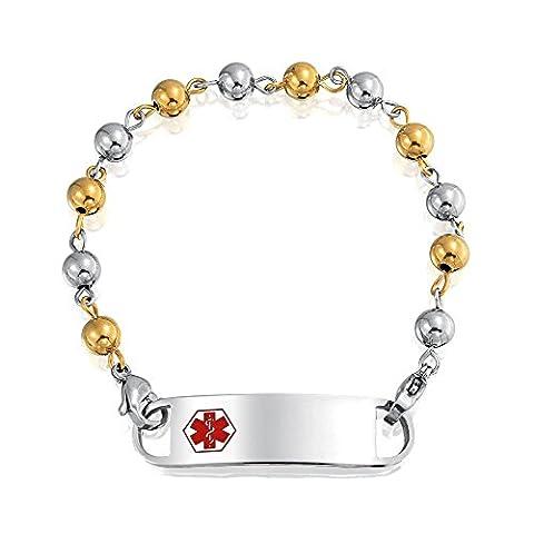 Gold Plated Steel 6mm Bead Ball Medical Alert ID Bracelet