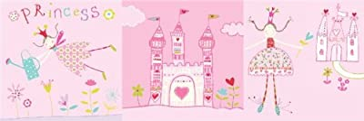 Princess & Castle Set of 3 Girls Bedroom Nursery Canvas Wall Art Pictures