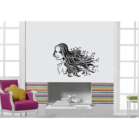 Pegatina de Pared Vinilo Adhesivo caliente de chica sexy hermosa mujer de peluquería salón de Spa