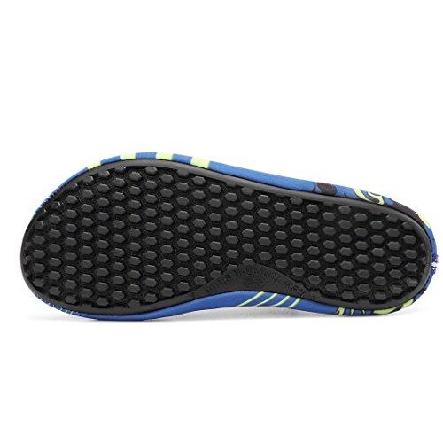 Sixspace Strandschuhe Badeschuhe Aquaschuhe Schwimmschuhe Rutschfeste Atmungsaktiv Leicht Barfuß Schuhe für Damen Herren Blau