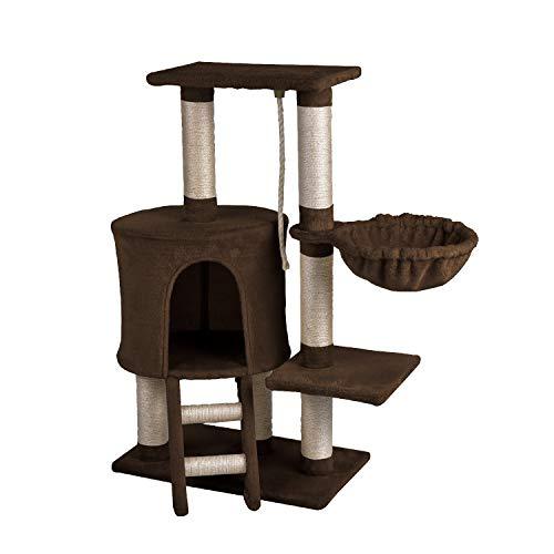 Wellhome albero per gatto alberi tiragraffi per gatti sisal coperto tiragraffi gatto con amaca e piattaforma di posatoi 96cm marrone