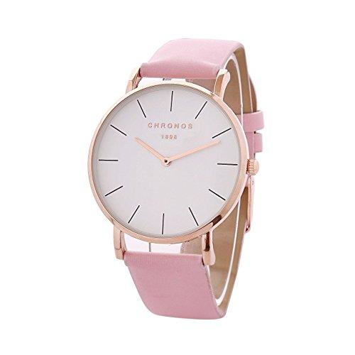 Mode Klassisch Unisex Damenuhren Herrenuhren PU Lederband Anolog Armbanduhren für Männer Frauen, Rosa-Rose Gold