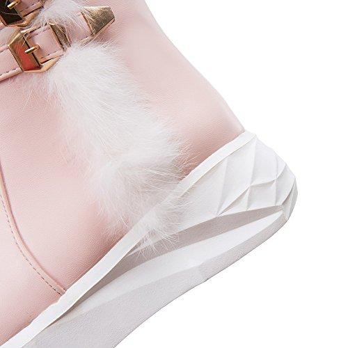 Rei脽verschluss Pink Mittler Damen Rund Stiefel Weiches Zehe Rein Absatz Material VogueZone009 HSqRw8x