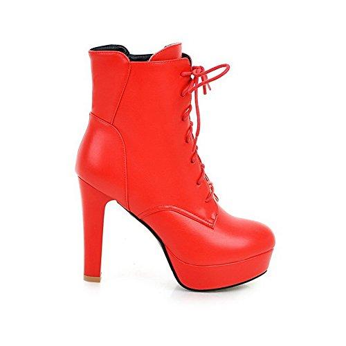 VogueZone009 Donna Tacco Alto Puro Punta Tonda Allacciare Stivali Rosso