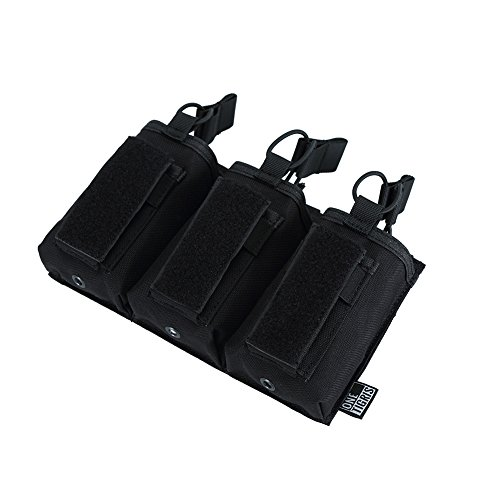 OneTigris Dreifach-Magazintasche Taktische MOLLE Mag Pouch DD18 für M4/M16/AR/AK/G36/Glock/M1911/92F (Schwarz) -