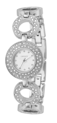 DKNY Ladies Stainless Steel, Stone Set Bracelet Watch With Silver Dial