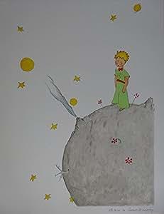 Lithographie d'Antoine de Saint Exupéry - Le Petit Prince sur sa planète