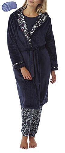 Robe mit Satin Futter Hausmantel Bademantel (L) Marine (Satin Robe Mit Kapuze)