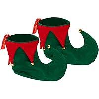 Elfenschuhe grün-rot für Zwerge und Elfen Zwergenschuhe Schuh für Märchenkostüme Narren Gnome