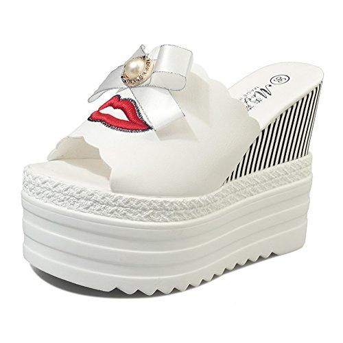 Super Haut Talon Un Mot Glisser,La Mode Porte Des Pantoufles Inférieures épaisses,Noeud Papillon Augmente Les Chaussures Des Femmes A