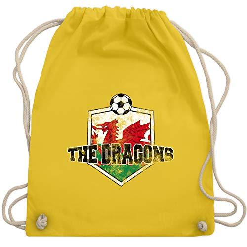 Fußball - Wales- The Dragons Vintage - Unisize - Gelb - WM110 - Turnbeutel & Gym Bag