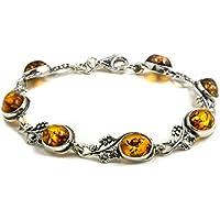Noda - Braccialetto con tralci di vite in ambra e argento sterling, 18 cm