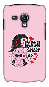 PrintHaat Designer Back Case Cover for Samsung Galaxy S3 Mini I8190 :: Samsung I8190 Galaxy S Iii Mini :: Samsung I8190N Galaxy S Iii Mini (cute spider with a lovely cat wearing a bow tie and hat :: red hearts blooming all around cat and spider :: in pink, red and black)