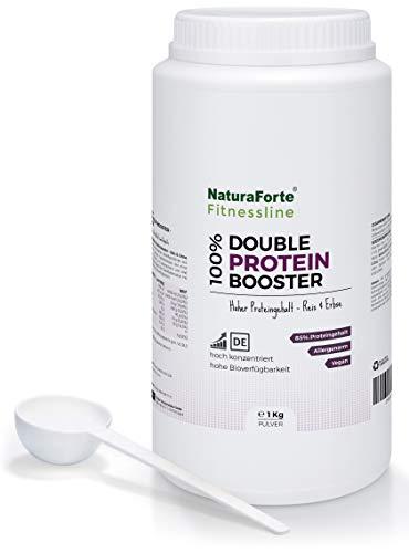 NaturaForte Double Protein Booster 1kg, Reines Brauner Reis & Erbsen-Proteinpulver Neutral, 85% Eiweiss für Protein Shake im Shaker, Hochwertiges Low-Carb Eiweißpulver ohne Zusätze, Vegan -
