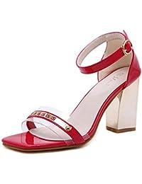 SHINIK Mujer Open-Toe Talones Bombas de tacón alto La cabeza cuadrada hueco Sandalias Metal transparente plástico empalme zapatos tobillo Strap Bombas Corte zapatos , red , 35