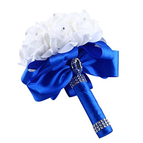 Koly_rose di cristallo damigella d'onore che wedding flowers seta artificiale (blu)