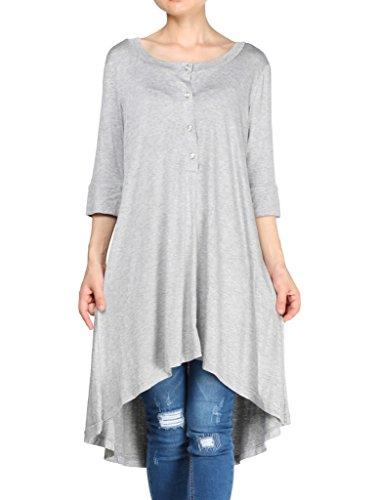 MatchLife Femme Slim Fit V-cou Irrégulier T-shirt Style1 Gris