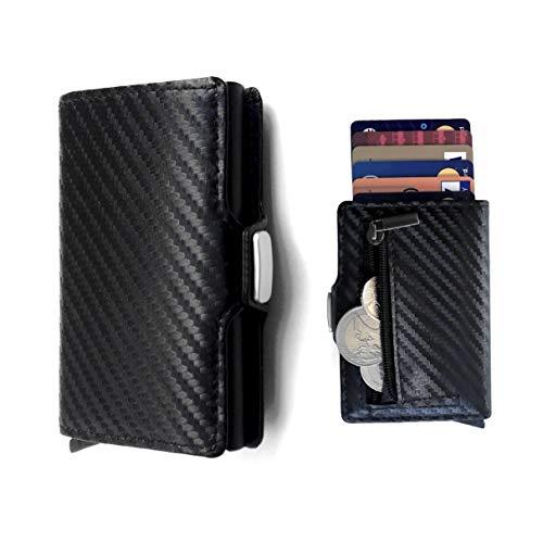 Lothus Porta Carte di Credito, Portafoglio Uomo Donna Slim, Blocco RFID/NFC Mini Wallet Porta carte di credito e portaBanconotePortacarte in Pelle e Fibra di Carbonio
