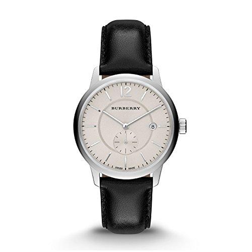 Burberry Classic Rund Beige Zifferblatt schwarz Leder Herren Armbanduhr bu10000