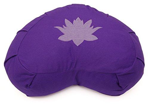 Yoga Studio Sarrasin Crescent Zafu Coussin de méditation–Feuille de lotus Violet Violet