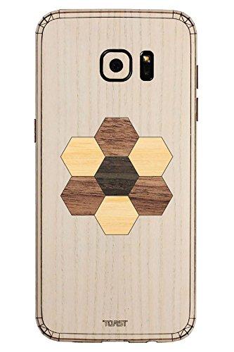 TOAST Skin für Samsung Galaxy S7 Edge (Echtholz), Einzelhandelsverpackung, Ash with Hexagon Inlay Kit (Holz-inlay-kit)