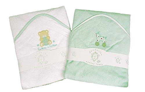 2 hochwertige Babybadetücher mit Kapuzen-100{59d1b752bfd34ae65974d1dc7a2ec1322da775e3212363691f783276da032d4f} Baumwolle, Rosa oder Blau mit niedlichen Tierapplikationen