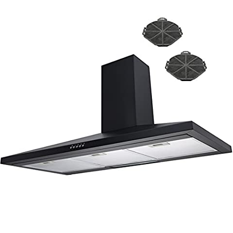 SIA 90cm Black Chimney Cooker Hood Extractor Fan + Recirculation Carbon Filters
