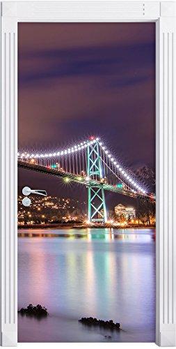 Lions Gate Bridge a Vancouver durante la notte come una parete, Formato: 200x90cm, telaio della porta, adesivi porta, porta decorazione, autoadesivi del