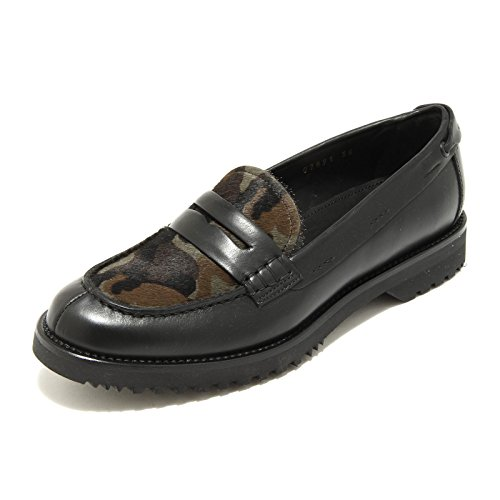 5123G mocassino donna nero militare CAR SHOE scarpa loafer shoes women Nero