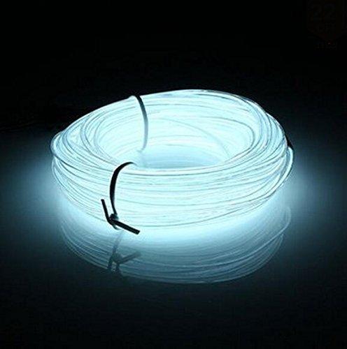 Lysignal Wasserdicht Flexibel 5M 15 FT Neon Beleuchtung Lichtschlauch Leuchtschnur EL Kabel Wire mit 3 Modis für Disco Party Kinder Halloween Kostüm Kleidung Weihnachtsfeiern (Weiße)