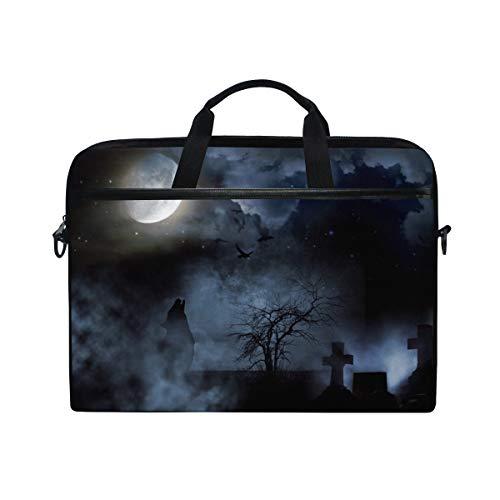 Ahomy 38,1-39,1cm Laptop Tasche, Halloween Night Moon Wolf Fledermaus Friedhof Canvas Stoff Laptop Fall zudem Handtasche mit Schultergurt für Damen und Herren