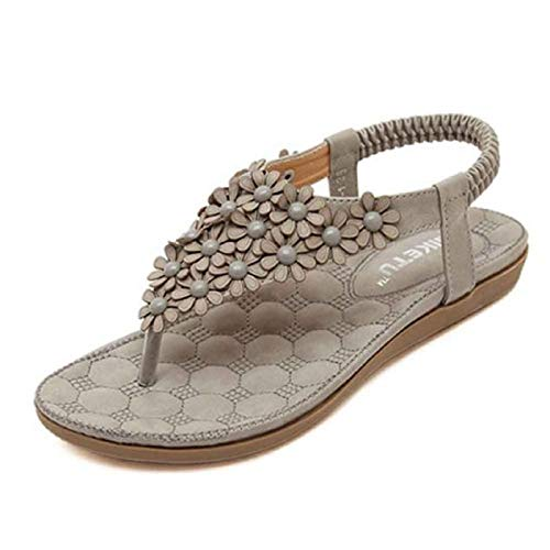 WWricotta Women's Fashion Sweet Beaded Clip Toe Flats Bohemian Herringbone Sandals GY 38(Grau,38) - Grau Fischgrat-jacke