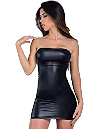 MPitude Women s Clubwear Faux Leather Look Liquid Black Strapless Mini Tube  Dress Fitted Spandex Lycra Bodycon a469c6817