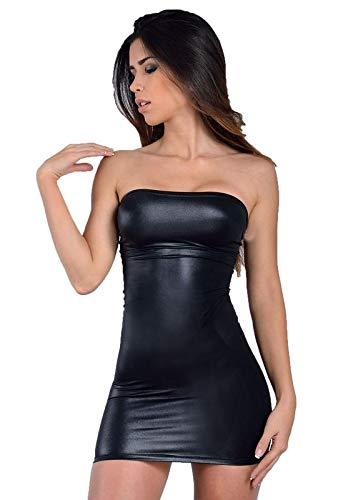 8ca9ba5e51 MPitude Women s Clubwear Faux Leather Look Liquid Black Strapless Mini Tube  Dress Fitted Spandex Lycra Bodycon