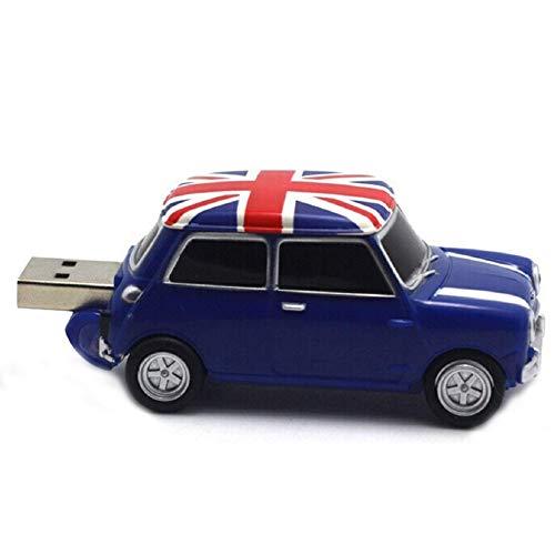 Hemore USB 2.0 Auto Fahrzeug PVC Kunststoff mit UK Flagge Custom Pendrive Original High Speed 8G blau